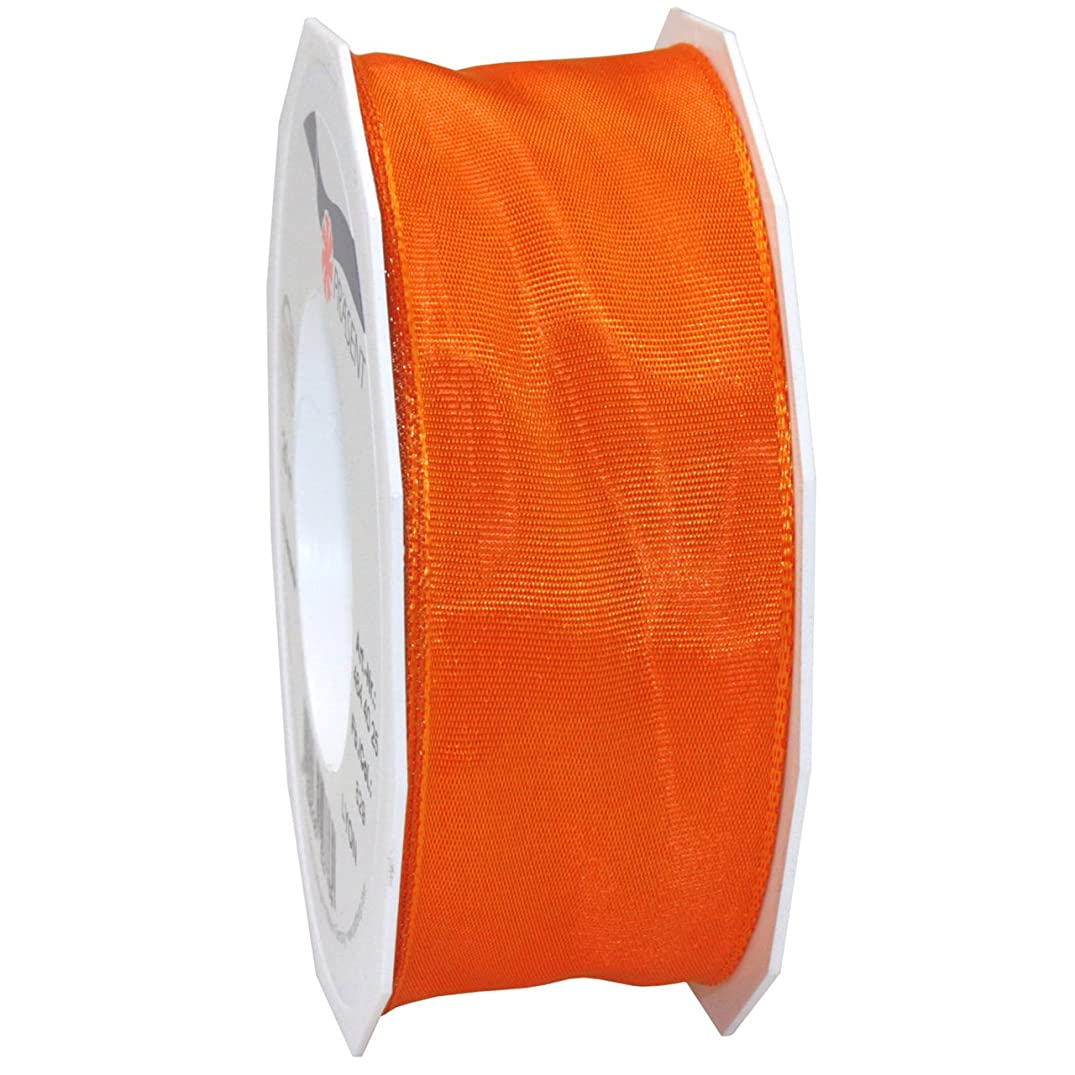 Morex Ribbon French Wired Lyon Fabric Ribbon, 1-1/2-Inch by 27-Yard, Tangerine