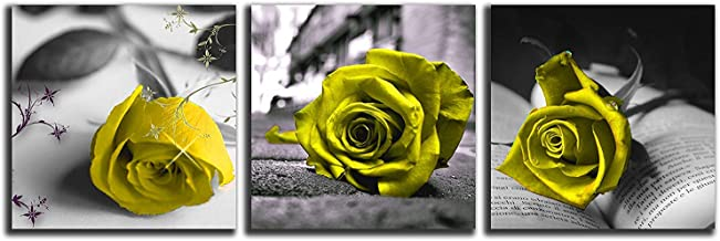 NAN Wind Canvas Print 3 Pcs Black and White Yellow Rose Canvas Art Abstract Wall Art Decorations Flower Picture on Canvas for Home Decor Valentines Gift Stretched and Framed 12X12inches