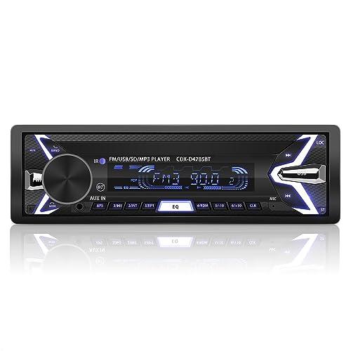 YOHOOLYO Autoradio Bluetooth Poste Radio Voiture Auto Radio Amovible Adapteur ISO Support USB SD MM AUX MP3 MP4 MP5 Téléphone FM Stéréo Hi-FI