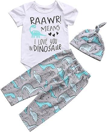 8752930f14345 Tranyee 3 pcs Newborn Baby Letter Print Rompers Dino Print Pants Headband  Outfit Sets