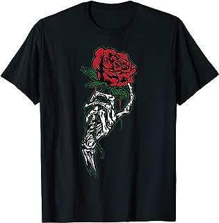 Rose Flower Tattoo - White Skeleton Hand Holding a Red Rose T-Shirt
