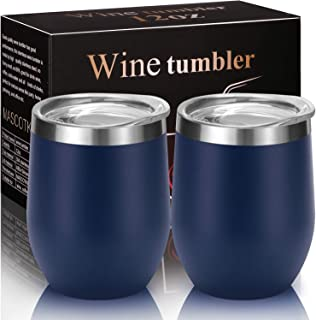 MASCOTKING Wine Tumbler With Non-Slip Bases-12 oz Double Wall Stainless Steel Stemless Insulated Wine Glass with Lid(2PACK 12oz, Matte Navy Blue02)