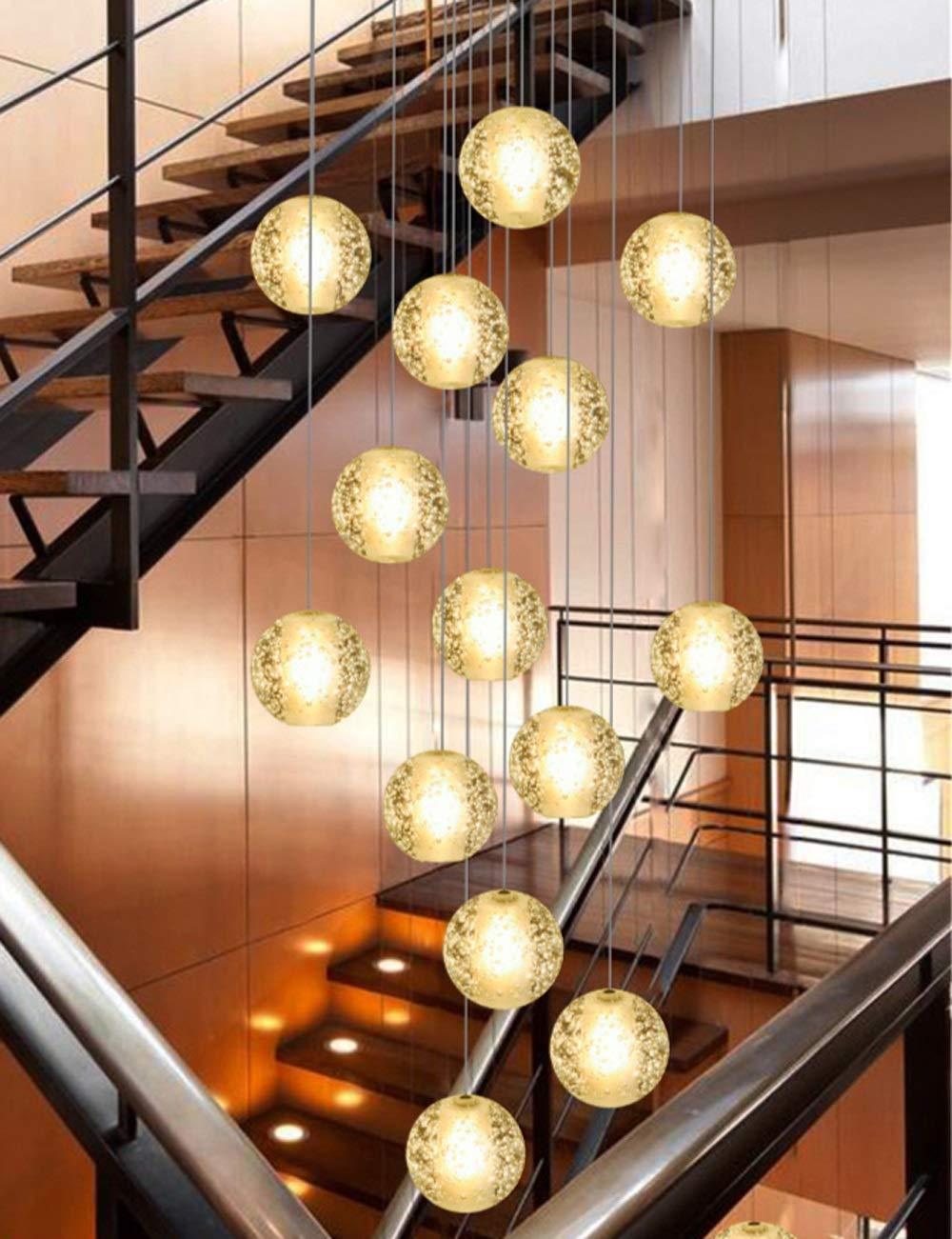 14 Bolas de vidrio Lámpara de escalera Lámpara larga Edificio dúplex Sala de estar Villa Lámpara de escalera giratoria nórdica Lámpara colgante minimalista moderna 50x200cm (Color: luz blanca): Amazon.es: Iluminación