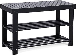 SONGMICS Sturdy Shoe Rack Bench,3-Tier Bamboo Shoe Organizer,Storage Shelf Holds Up to..