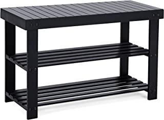 SONGMICS Black Shoe Rack Bench, 3-Tier Bamboo Shoe Organizer, Storage Shelf, Holds Up to..