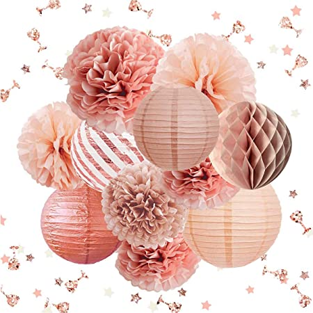 NICROLANDEE Rose Gold Party Decorations -12PCS Elegant Party Supplies Tissue Pom Poms Paper Lantern Glitter Confetti 30G for Wedding Bridal Shower Baby Shower Birthday Bachelorette Party Decorations