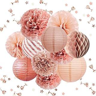 NICROLANDEE Rose Gold Party Decorations -12PCS Elegant Party Supplies Tissue Pom Poms Paper Lantern Glitter Confetti 30G f...