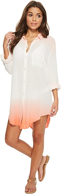 Green Dragon - Dip-Dyed Crinkle Gauze Big Sur Boyfriend Shirt