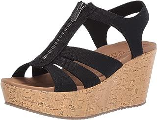 Skechers Women's Brit-Zipper Wedge Quarter Strap Sandal