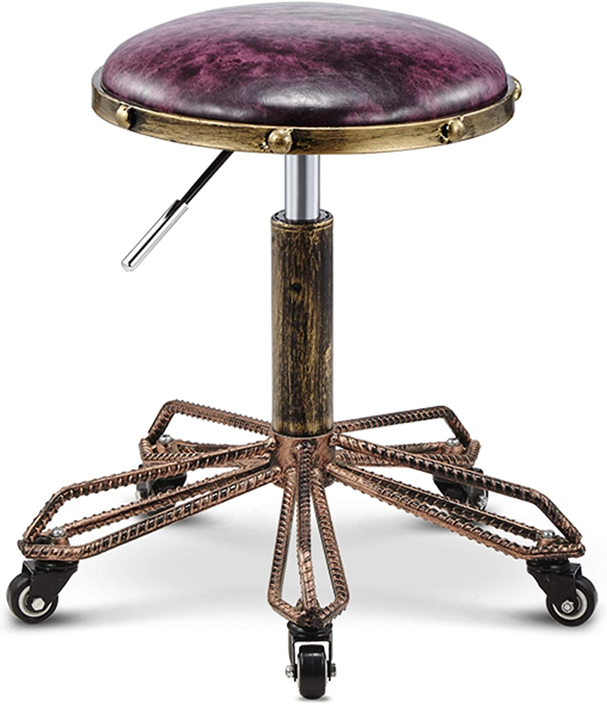 Iron Bar Stool,Retro Steel Bench Lifting Beauty Stool Retro Industrial Wind Stool Adjustable Beauty Chair Makeup Stool,B