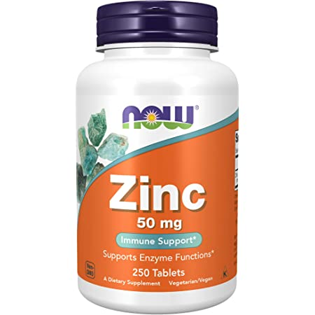 NOW Supplements, Zinc 50 mg, 250 Count (Pack of 1)