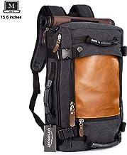 Overmont Vintage rugzak voor heren, wandelrugzak, reisrugzak, laptoprugzak, 14,1 inch / 15,6 inch daypack, multifunctionel...
