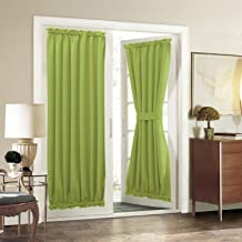 Aquazolax French Door Curtain Panels for Privacy - Solid Thermal Insulated Blackout Curtains Drapery 54x72-Inch Window Coverings for Patio Doors - One Piece, Greenery