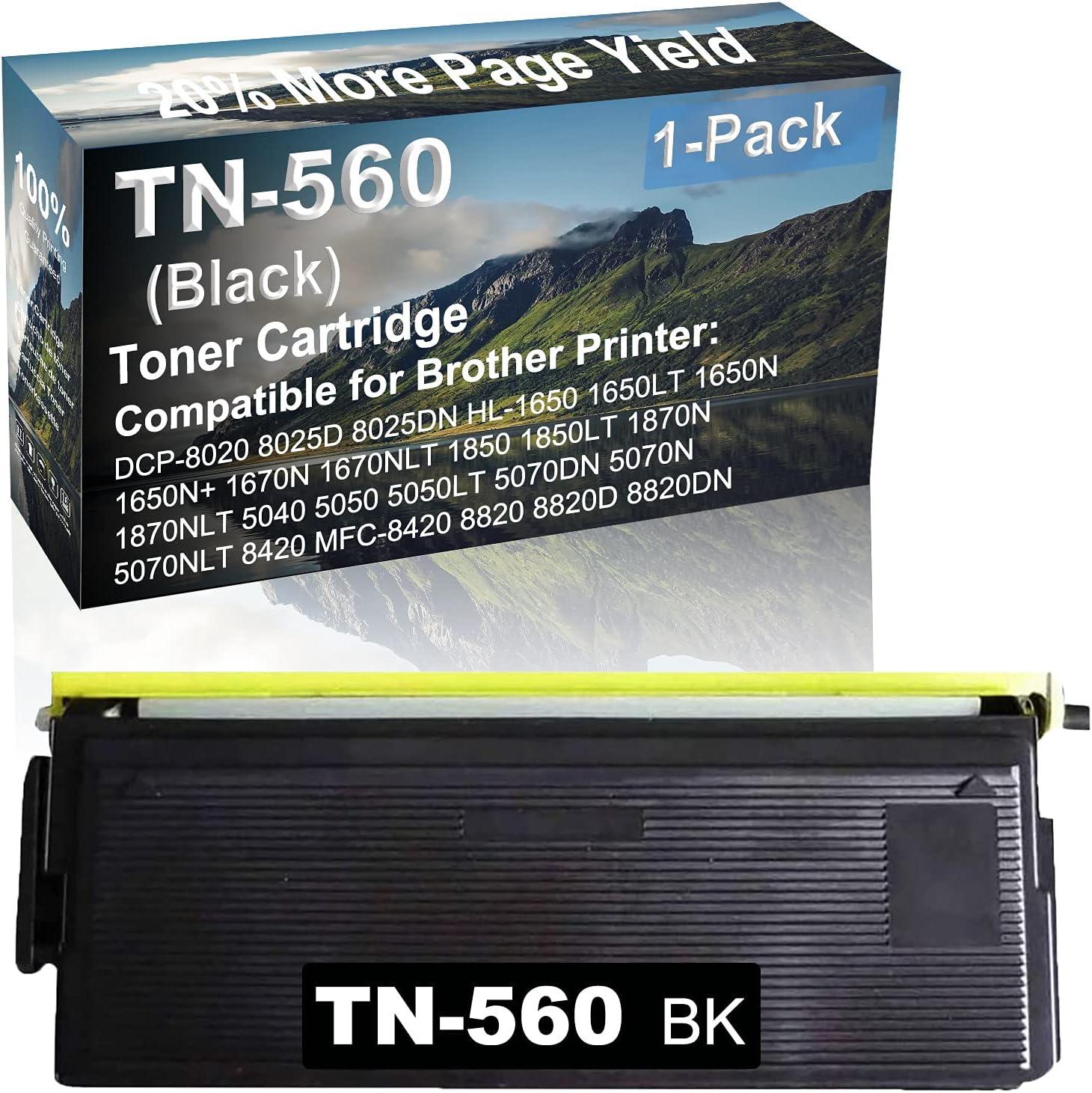 1-Pack Compatible High Capacity HL-1870N, HL-1870NLT, HL-5040, HL-5050, HL-5050LY, HL-5070DN, HL-5070N, HL-5070NLT Printer Toner Cartridge Replacement for Brother TN560 Toner Cartridge (Black)