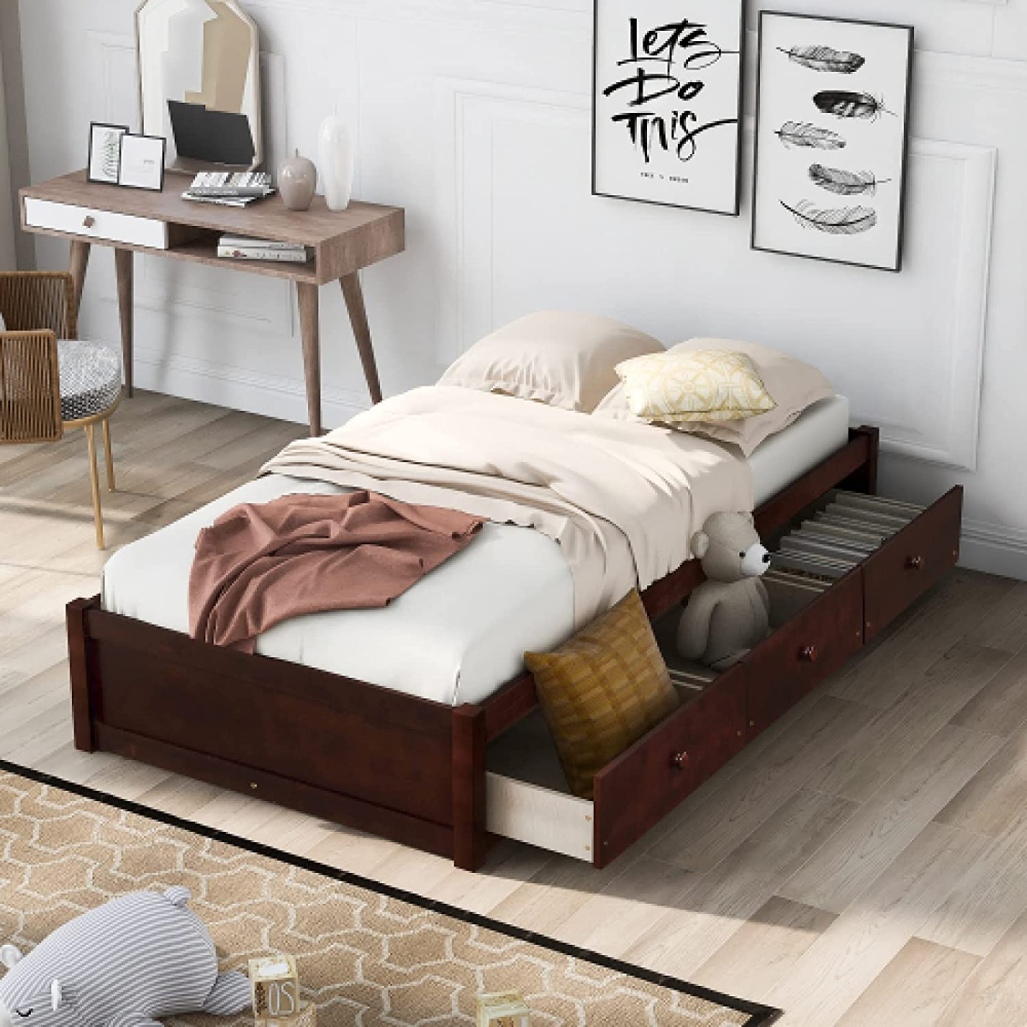 Twin Size Platform Storage Bed with Wooden S Drawers 3 Limited time cheap sale Frame Brand new