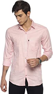 LEVIZO 100% Self Design Cotton Plain Solid Casual Classic Fit Shirt Full Sleeves for Men