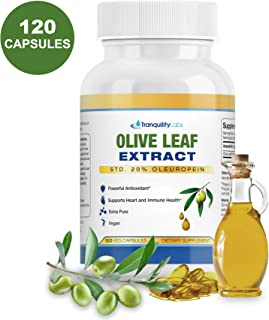 Olive Leaf Extract by Tranquility Labs - 750mg, 120 Capsules - Extra Strength - 20% Oleuropein - Powerful Antioxidant - Supports Heart & Immune System - Extra Pure, Vegan - 4 Month Supply
