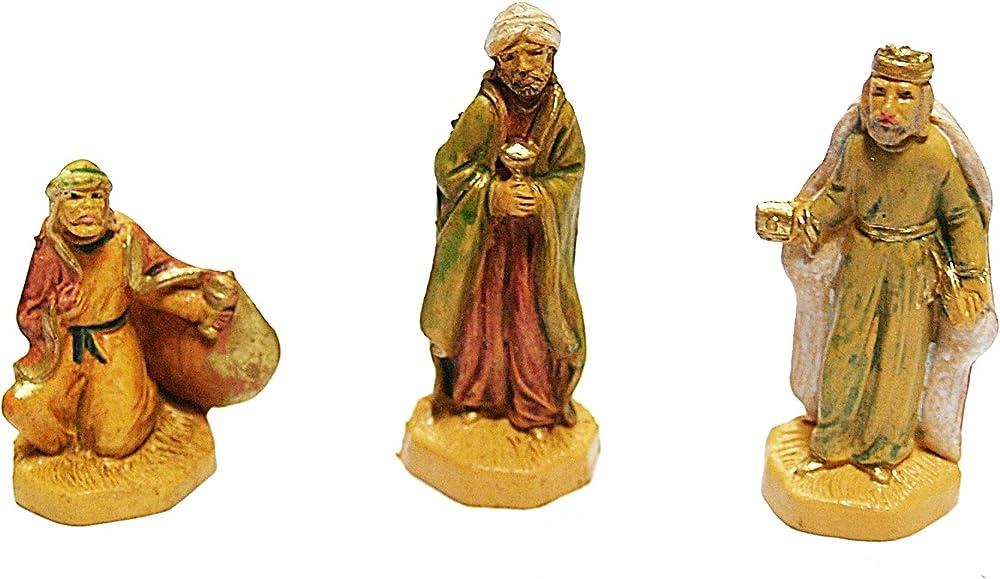 Ferrari & arrighetti ,i 3 re magi in legno,personaggi del presepe CM04L/R3