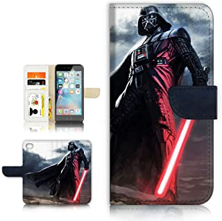 (For iPhone 5 5S / iPhone SE ) Flip Wallet Style Case Cover, Shock Protection Design with Screen Protector - B31011 Starwars Darth Vader