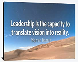 Leadership is Capacity to Translate Vision into Reality Warren Bennis Relentless Fearless Perseverance Prosperity Leadership Humble Winner Wood Wall Art Print Photo Image Decor