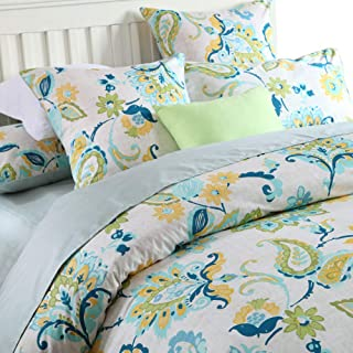 Softta Luxury Damask Green Floral Farmhouse Leaves Bedding Design King Size 3Pcs(1 Duvet Cover+ 2 Pillowcases 800 Thread Count 100% Egyptian Cotton Duvet Cover Set