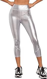 Milumia Women Metallic Contrast Fishnet Yoga Pants Activewear Joggers Sports Capris Leggings