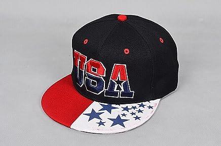 EDTara USA American Flag Snapback Cap Adjustable United States Baseball Cap Hat Black