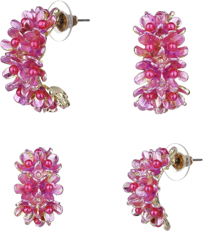 Wgoud Bohemian Style Gold Plated Metal Flower Hoop Earrings - Lightweight Stylish Floral Blooming Hoops Earring Jewerly for Women Girls