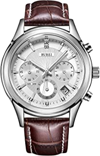 Mens Business Casual Elegant Chronograph Sports Watch with Genuine Leather Band