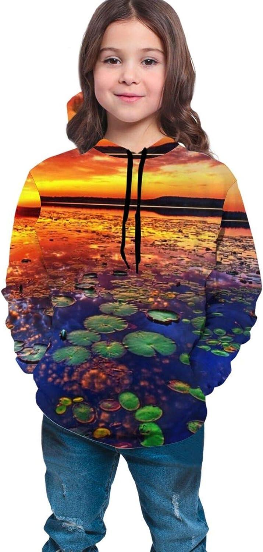 LINCHENC Boys Girls Hoodie, Blue Lake Unisex 3D Printing Teenager Sweatshirt Kids Children's Sweater for Age 7-20