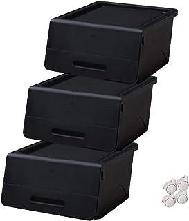 山善(YAMAZEN) オープンボックス フタ付き収納ボックス 3個組 浅型 キャスター付き ブラック