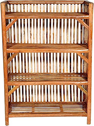 G S CREATIONS Bamboo Cane Bait Strong Shoe Rack Wooden Slipper Stand Utility Rack Planter Stand Bookshelf Space Saving Shelf for Home Kitchen
