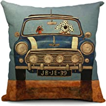 NewLan Cotton Linen Decorative Throw Pillow Cover Driving Dogs Car Pattern Cushions Covers 45x45cm Funny Animal Pillowcase Gift (Dd-4)