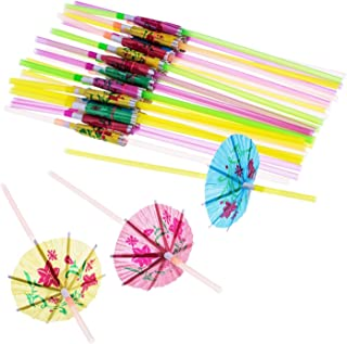 Mudder100 Pieces Umbrella Disposable Bendable Drinking Straws for Luau Parties, Bars, Restaurants