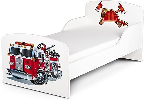 Leomark Moderne Lit D'enfant Toddler 140 70 cm Motif Pompiers, avec Matelas Chambre Pour Les Enfants Meubles Pour Enfants Confortable Fonctionnel Lit Simple