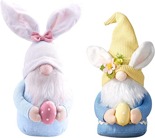 discount Set of 2 online sale Easter Gnome Bunny with discount Easter Egg, Handmade Plush Easter Faceless Ornaments Holding Egg, Bunny Gnomes Ornaments, Easter Desktop Bunny Easter Gnome, Indoor Spring Decor, Tabletop Figurines outlet sale