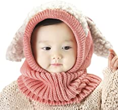 Baby Kids Warm Winter Hats Cute Thick Earflap Hood Hat Scarves Skull Caps Hooded Cowl Neck Warmer Beanie with Ears