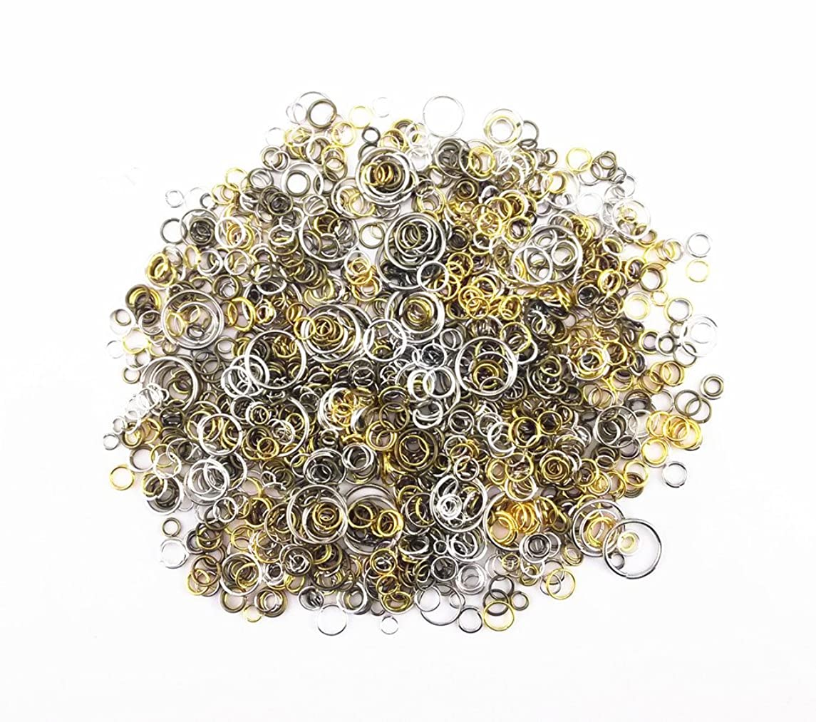 yueton?100 Gram (Approx 1650pcs) Mixed Color and Size Assorted Antique Jump Ring Connector Link for Crafting, Jewelry Making Accessory