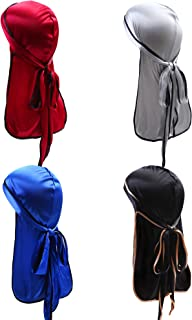 URATOT 4 Pieces Silky Soft Durag Cap Headwrap with Long Tail Silky Pirate Durag Cap for Mens or Womens
