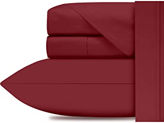 Premium 1000 Thread Count 100% Extra Long Staple Cotton 4 Pc Bedspreads King Size Set Red, Soft Sateen Weave Bed Sheets, S...