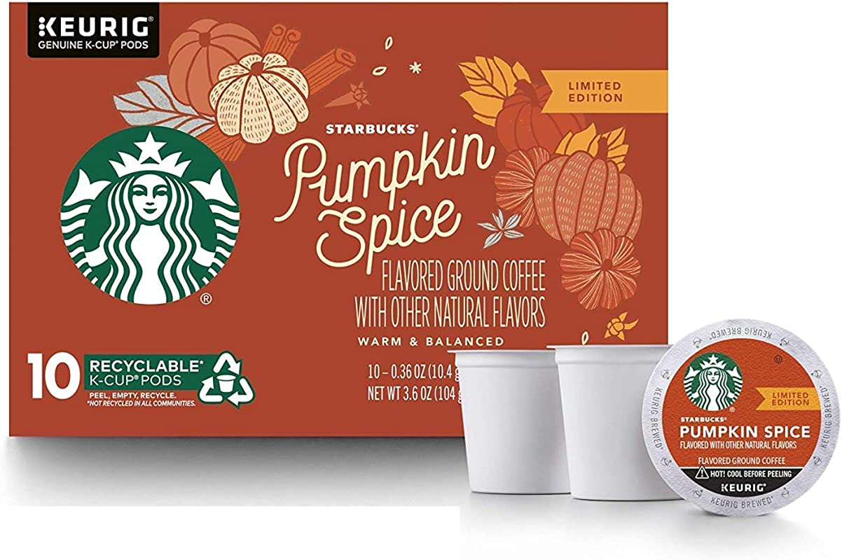 Starbucks Pumpkin Spice Flavored Ground Coffee 1 Box Of 10 K Cup Single Serve Pods 1 Box Of 10 Orange
