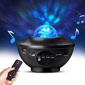 Night Light Projector with Timer & Remote Control, Monkey Home 2 in 1 Ocean Wave Projector Star Projector with LED Nebula Cloud for Baby Kids Bedroom/Game Rooms/Home Theatre, Built-in Music Speaker