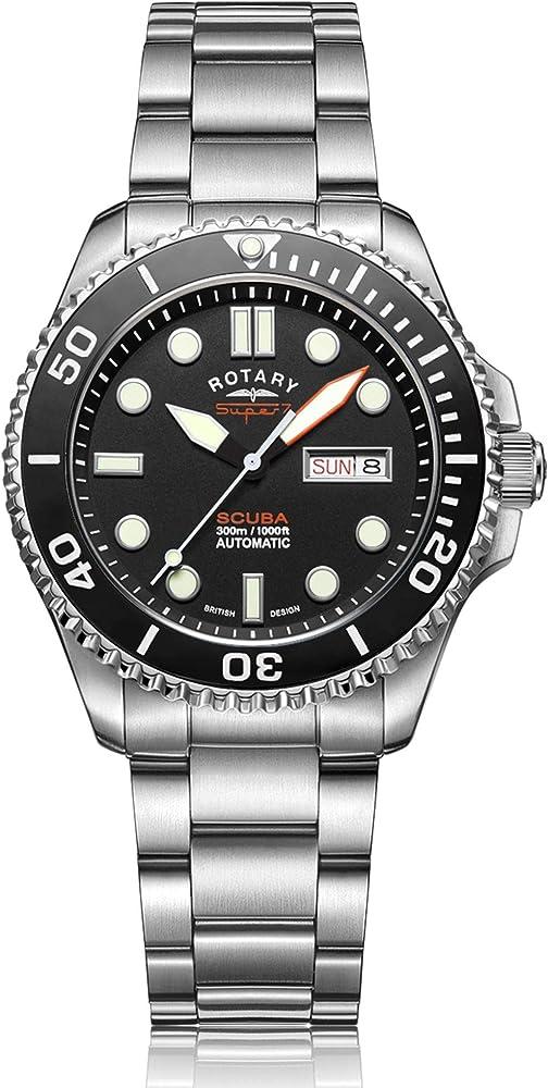 Rotary super 7 orologio da uomo con cinturino in acciaio inossidabile automatico da immersione S7S001B
