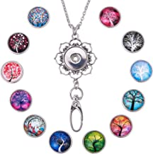 SUNNYCLUE 1 Set 30inches Women Office Lanyard ID Badges Holder Necklace with 12pcs Alloy Breakaway Snap Buttons Charms Jewelry Pendant Clip & Plastic Box(Tree of Life)