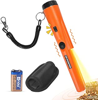 Metal Detector Pinpointer, 360° Pinpointing with Higher Accuracy, LED Flashing Sound Vibration Indication, Hanging Wire/ 9...
