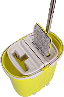 Balai mop microfibre essorage facile lave sol et attrape-poussière double bac empilable compact (Vert avec 2 lingettes)