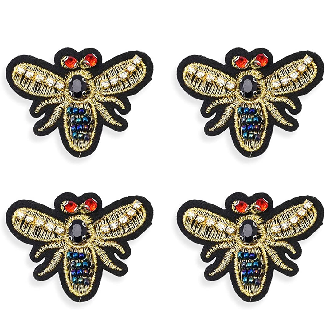 4Pcs Rhinestones Patches Sew on, Premium Sewing Rhinestone Appliques Beads Crystals Embroidery Patch DIY for Wedding Dresses, Shoes, Bags, Headpiece, Clothes, Garment Accessories (Bee 2)
