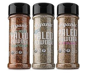 Paleo Powder All Purpose Organic Seasoning Variety Pack. The Original Paleo Food Seasoning Great for all Paleo Diets. Certified Keto Food, Paleo Whole 30, Paleo AIP Food, Gluten Free Seasoning.