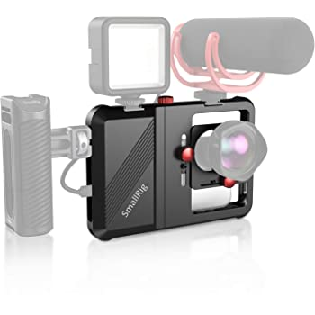"""SmallRig Smartphone Video Rig, Filmmaking Vlogging Rig Phone Video Stabilizer Aluminium Alloy Grip w 1/4"""", Cold Shoe Mount Lens Mount and Lens Adapter for Videomaker Videographer - CPU2494"""