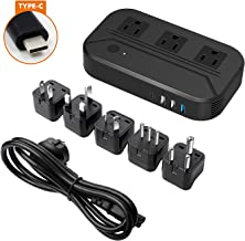 Voltage Converter 2300W International Power Converter Step Down 220v-240v to 110v/120v Travel Adapter Transformer w/ 4 USB 3 AC Outlets EU Cable Cord and 5 Worldwide Plug Adapters of US/AU/IT/UK/India